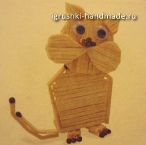 поделки из спичек своими руками, кот