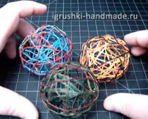 как сделать новогодние игрушки своими руками, шары из ниток