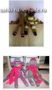 как сделать игрушки из носков, обезьянка своими руками