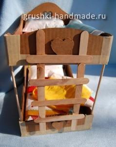 как сделать двухъярусную кровать для кукол из картона своими руками