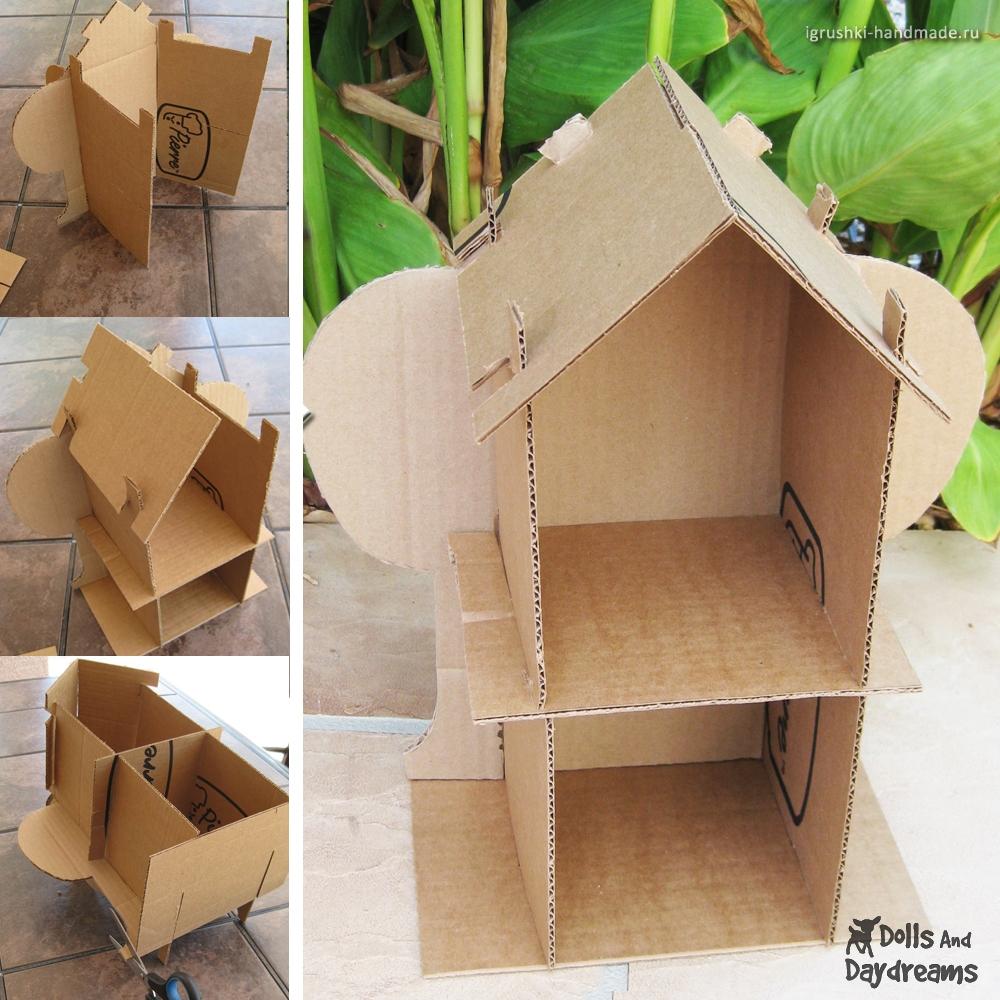 как сделать кукольный домик из картонной коробки своими руками.