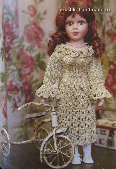 ажурное платье, кукла, своими руками, платье для куклы