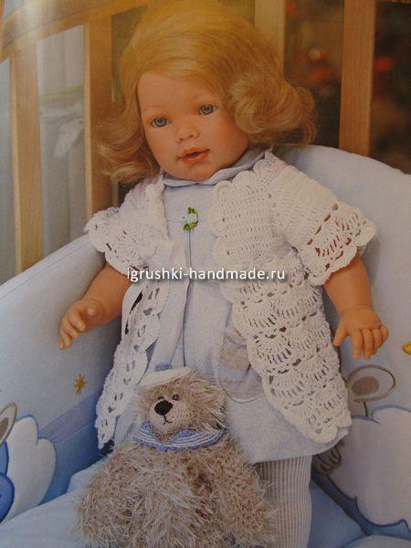 Ажурная кофточка, одежда для куклы, своими руками