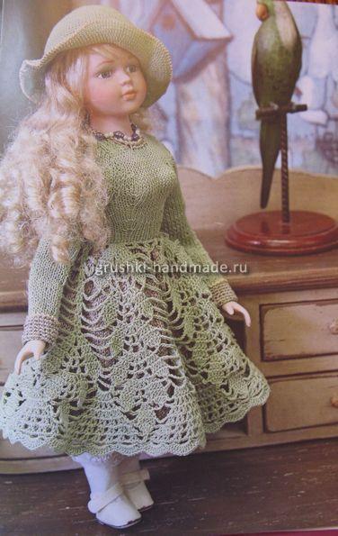 Зеленое платье и шляпка для куклы своими руками, игрушка, одежда для куклы