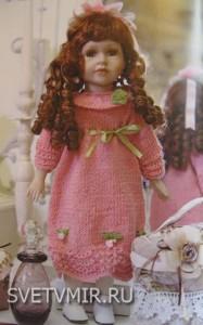 Розовое платье с розочками своими руками для куклы